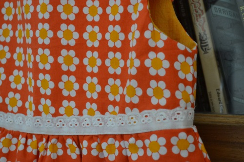 close up orange frock